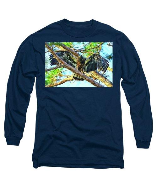 Long Sleeve T-Shirt featuring the photograph Eagle Fledgling II 2017 by Deborah Benoit