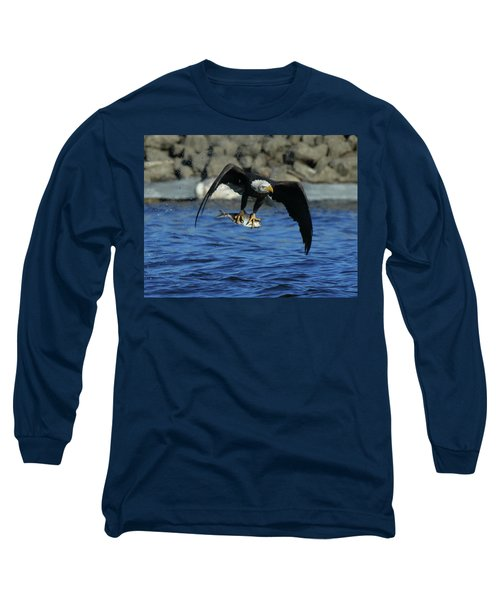 Eagle With Fish Flying Long Sleeve T-Shirt by Coby Cooper