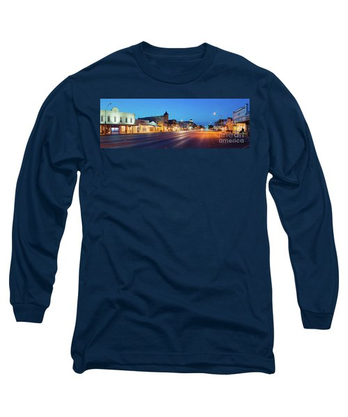 Early Morning Panorama Of Fredericksburg Main Street - Gillespie County Texas Hill Country Long Sleeve T-Shirt