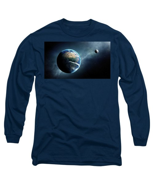 Earth And Moon Space View Long Sleeve T-Shirt