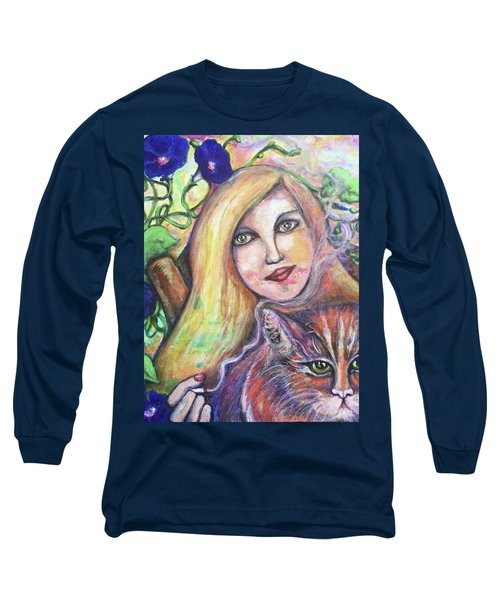Long Sleeve T-Shirt featuring the painting Eazybreezylazy Sunday by Rae Chichilnitsky