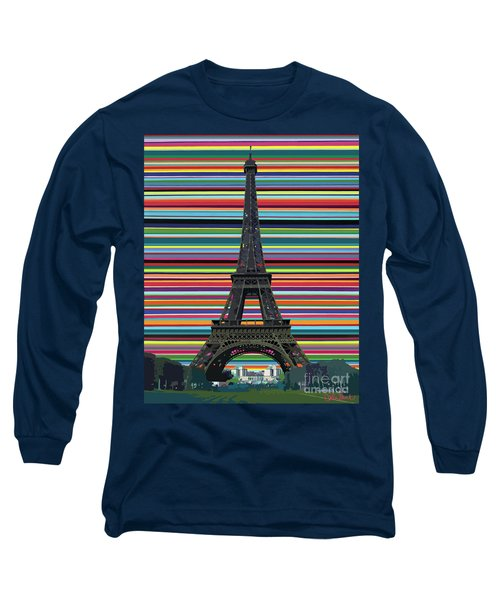 Long Sleeve T-Shirt featuring the painting Eiffel Tower With Lines by Carla Bank
