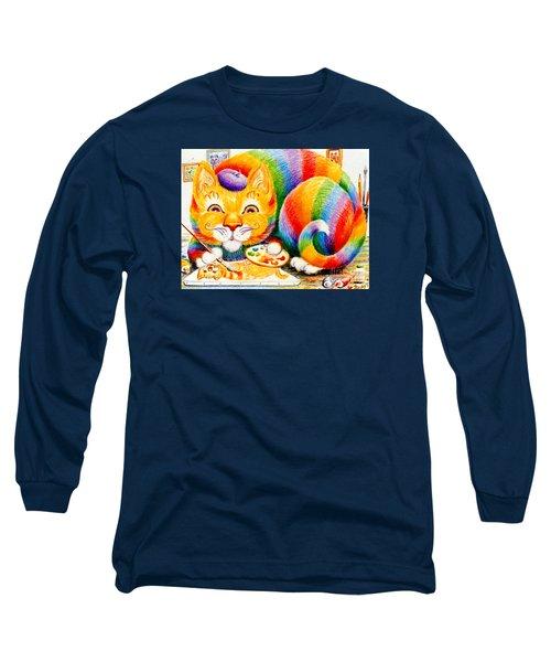 el Gato Artisto Long Sleeve T-Shirt by Dee Davis