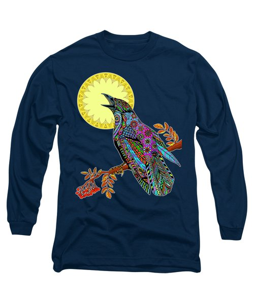 Electric Crow Long Sleeve T-Shirt by Tammy Wetzel