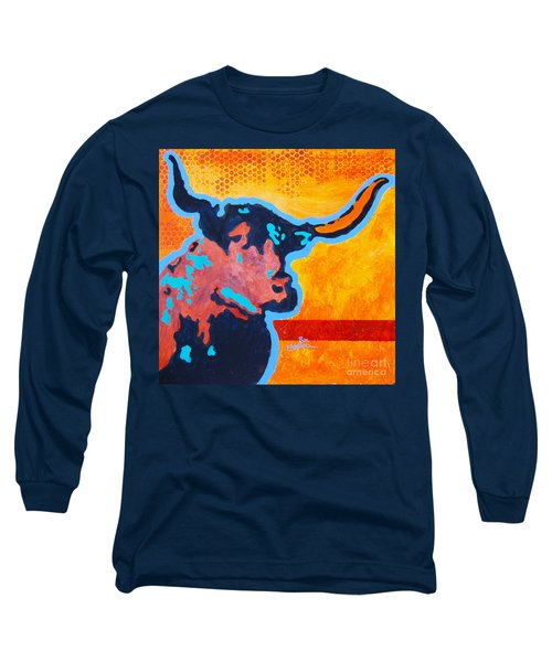 Long Sleeve T-Shirt featuring the painting Electric Longhorn by Ron Stephens