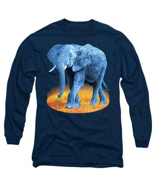 Long Sleeve T-Shirt featuring the photograph Elephant - World On Fire by Gill Billington