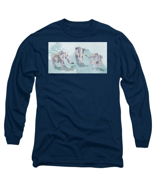 Elephants In Blue Long Sleeve T-Shirt by Angeles M Pomata