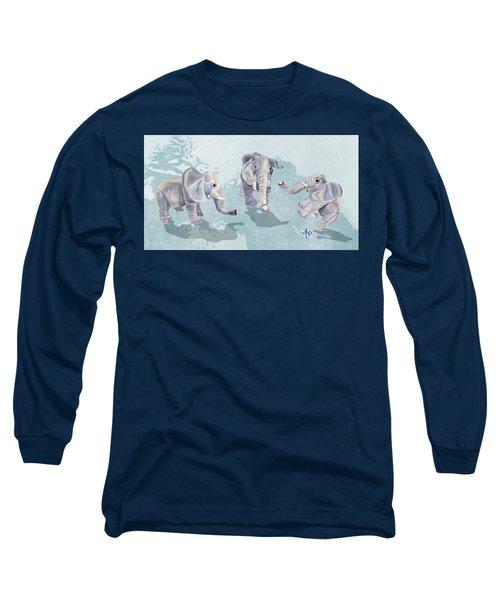 Elephants In Blue Long Sleeve T-Shirt