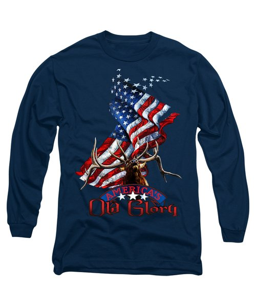 Elk Old Glory Long Sleeve T-Shirt by Rob Corsetti