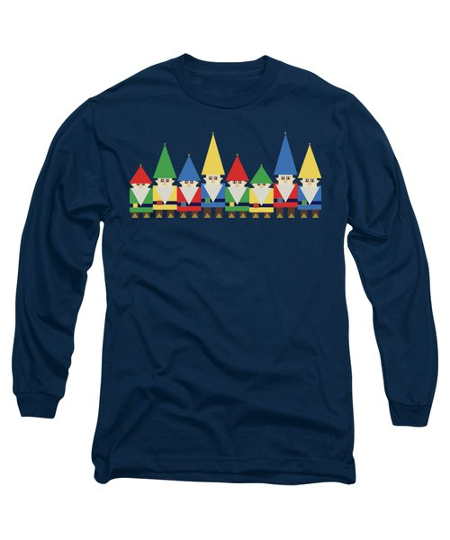 Elves On Blue Long Sleeve T-Shirt