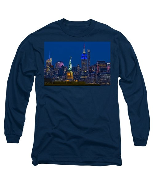 Long Sleeve T-Shirt featuring the photograph Empire State And Statue Of Liberty II by Susan Candelario