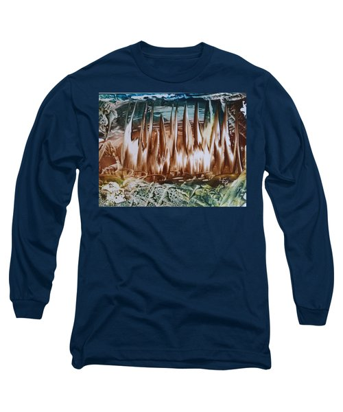 Encaustic Abstract Brown Blue-green Long Sleeve T-Shirt