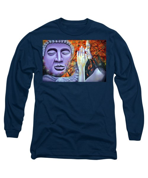 Long Sleeve T-Shirt featuring the painting Enlighten Me by Bliss Of Art