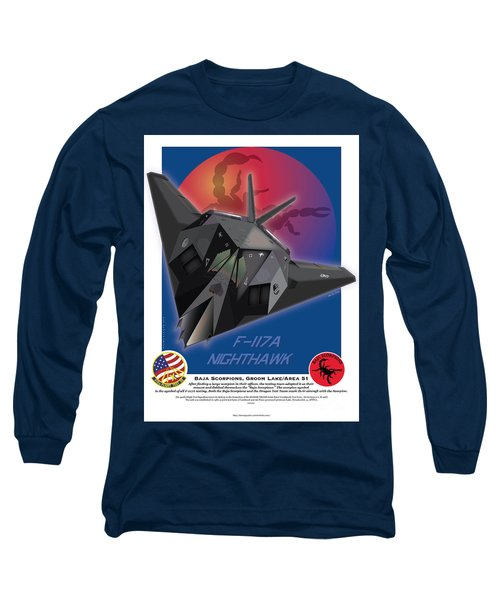 F117a Nighthawk Long Sleeve T-Shirt by Kenneth De Tore