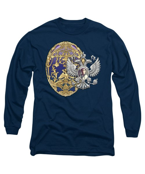 Faberge Tsarevich Egg With Surprise On Blue Velvet Long Sleeve T-Shirt