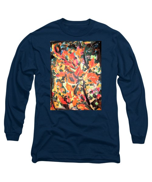 Fall Forest In Red And Black Long Sleeve T-Shirt by Esther Newman-Cohen