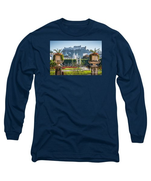 Famous Mirabell Gardens In Salzburg Long Sleeve T-Shirt by JR Photography