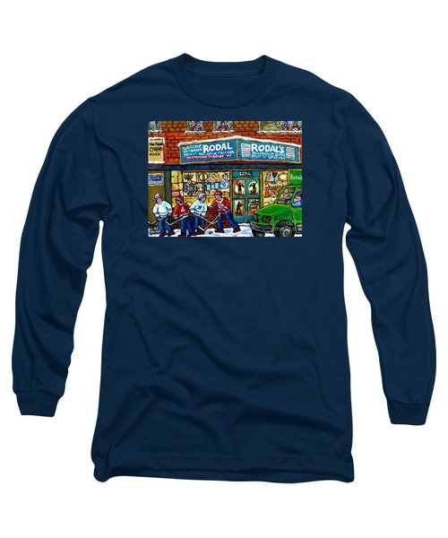 Fiddler On The Roof Painting Canadian Art Jewish Montreal Memories Rodal Gift Shop Van Horne Hockey  Long Sleeve T-Shirt by Carole Spandau
