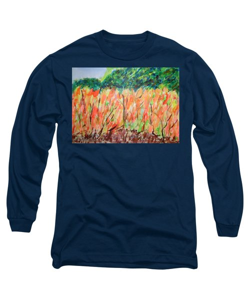 Long Sleeve T-Shirt featuring the painting Fiery Bushes by Esther Newman-Cohen
