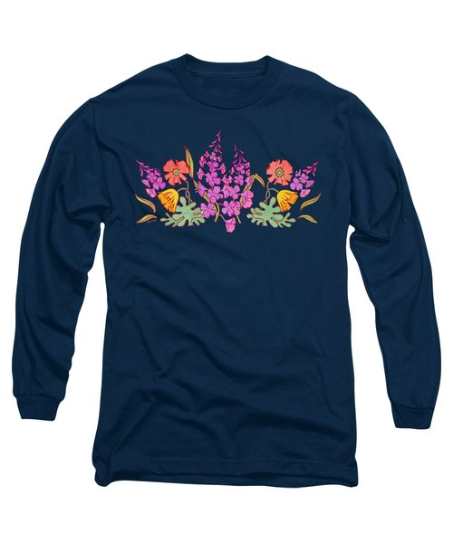 Fireweed And Poppies Cascade Long Sleeve T-Shirt by Teresa Ascone