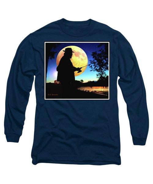 Fisherman In The Moolight Long Sleeve T-Shirt
