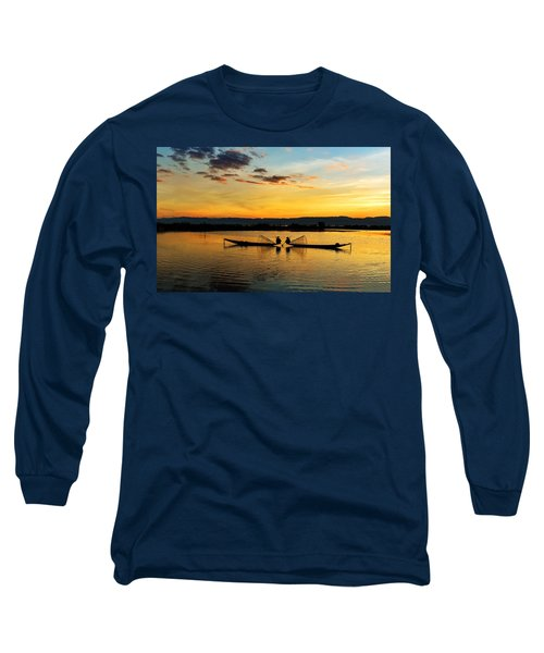Fisherman On Their Boat Long Sleeve T-Shirt