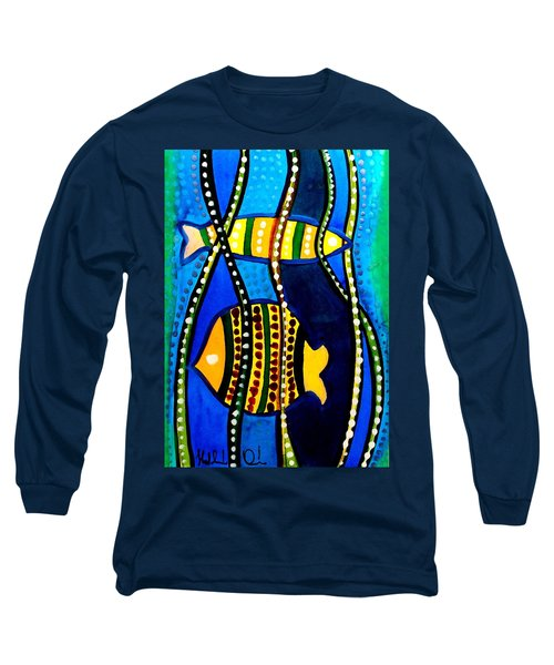 Long Sleeve T-Shirt featuring the painting Fishes With Seaweed - Art By Dora Hathazi Mendes by Dora Hathazi Mendes