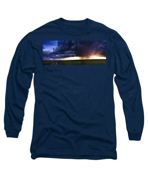 Flint Hills Storm Panorama  Long Sleeve T-Shirt