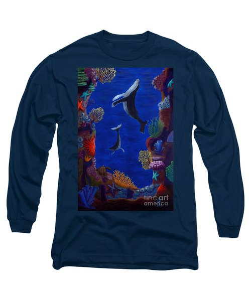 Floating Whales Long Sleeve T-Shirt by Rebecca Parker