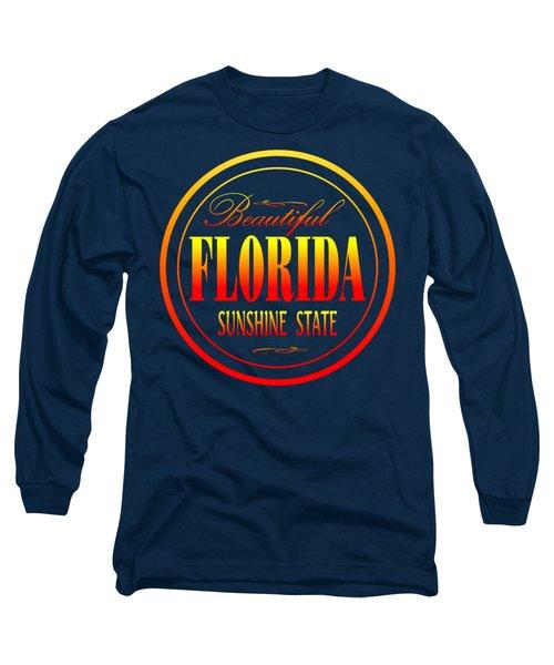 Florida Sunshine State - Tshirt Design Long Sleeve T-Shirt by Art America Gallery Peter Potter