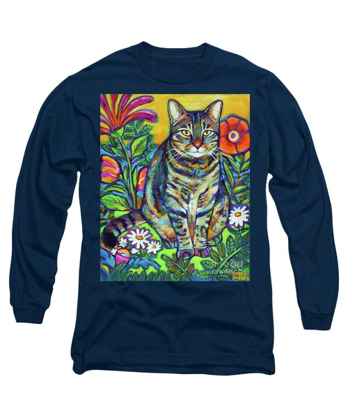 Long Sleeve T-Shirt featuring the painting Flower Kitty by Robert Phelps
