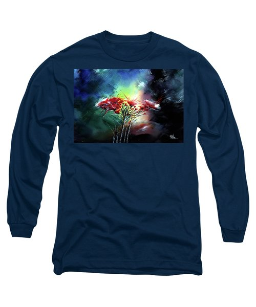 Long Sleeve T-Shirt featuring the painting Flowers by Anil Nene