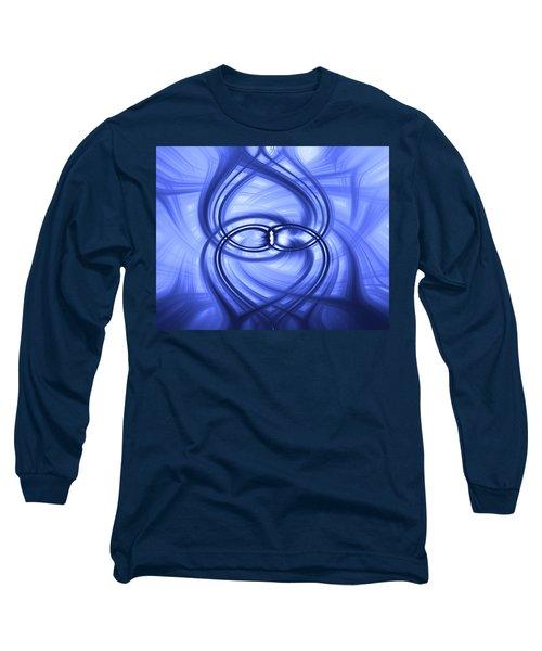 Fluid Blue Long Sleeve T-Shirt by Carolyn Marshall