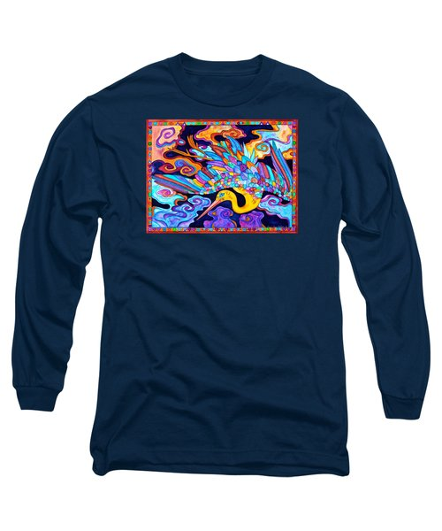 Flying Crane Long Sleeve T-Shirt by Lori Miller