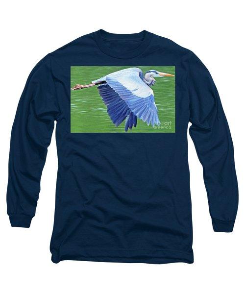 Flying Great Blue Heron Long Sleeve T-Shirt
