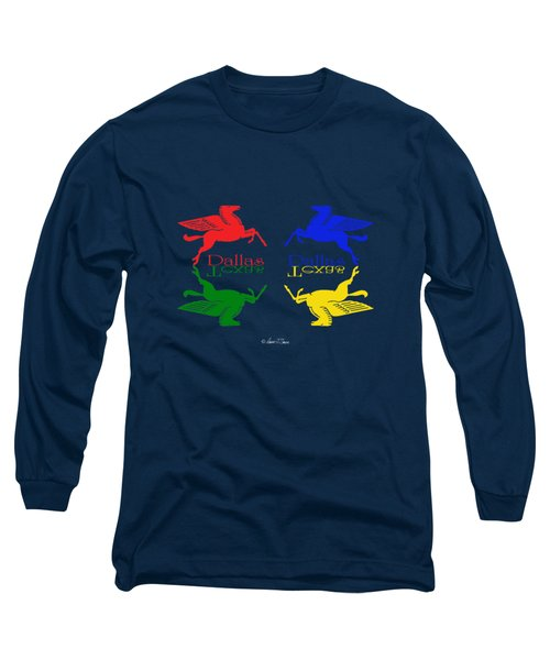 Flying Red Green Blue Yellow Horse Dallas Texas Reflections Long Sleeve T-Shirt