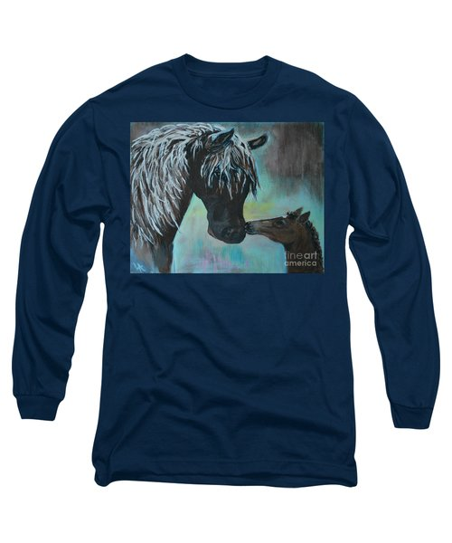 Long Sleeve T-Shirt featuring the painting Foal Kiss by Leslie Allen