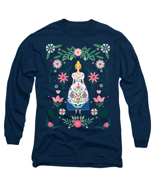 Folk Art Forest Fairy Tale Fraulein Long Sleeve T-Shirt