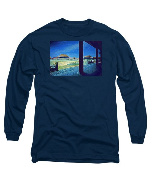 Long Sleeve T-Shirt featuring the photograph Forbidden City Porch by Dennis Cox ChinaStock