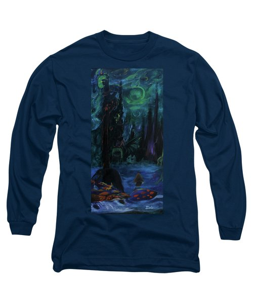 Long Sleeve T-Shirt featuring the painting Forbidden Forest by Christophe Ennis