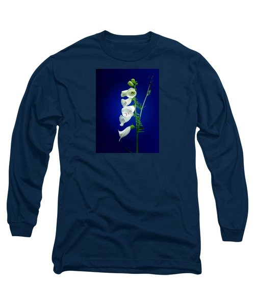 Foxgloves On  Blue Long Sleeve T-Shirt by Mike Breau