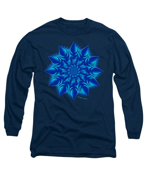 Fractal Flower In Blue Long Sleeve T-Shirt