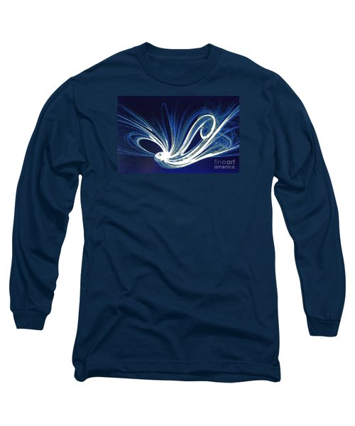 Long Sleeve T-Shirt featuring the photograph Fractal Wonder In Blue And White by Merton Allen