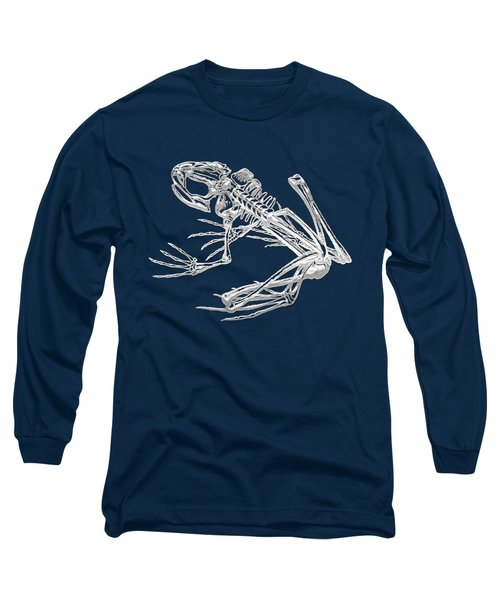 Frog Skeleton In Silver On Blue  Long Sleeve T-Shirt by Serge Averbukh