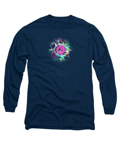 Fruity Rose   Fancy Colorful Abstraction Pattern Design  Green Pink Blue  Long Sleeve T-Shirt by Philipp Rietz
