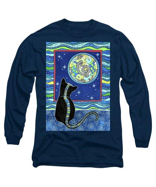 Pisces Cat Zodiac - Full Moon Long Sleeve T-Shirt