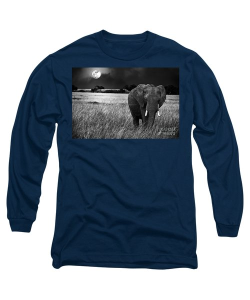 Full Moon Night Long Sleeve T-Shirt by Charuhas Images