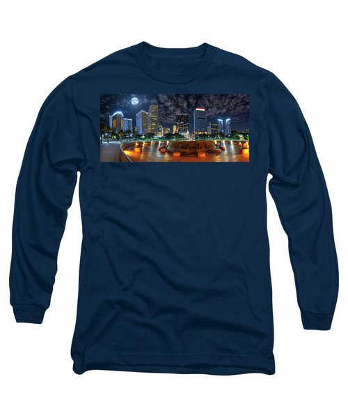 Full Moon Over Bayfront Park In Downtown Miami Long Sleeve T-Shirt