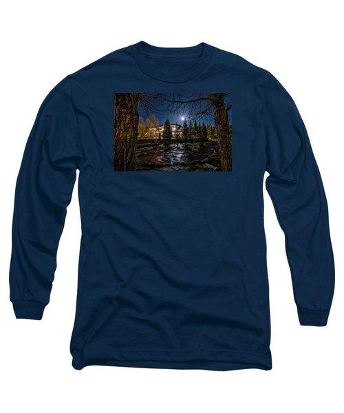 Full Moon Over Breckenridge Long Sleeve T-Shirt by Michael J Bauer