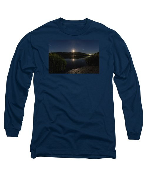 Long Sleeve T-Shirt featuring the photograph Full Moon Retreat Meadows by Tom Singleton